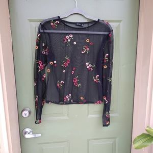 Mesh Floral Long Sleeve Top
